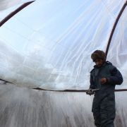 Ice Stupa volunteer Thupstan Dawa fixing up plastic on the dome roof.
