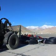 Jain Irrigation donated 2,300 m of HDPE pipe tolls weighing roughly 4,000 kilos and Indian Air Force airlifted them from Chandigarh to Leh.